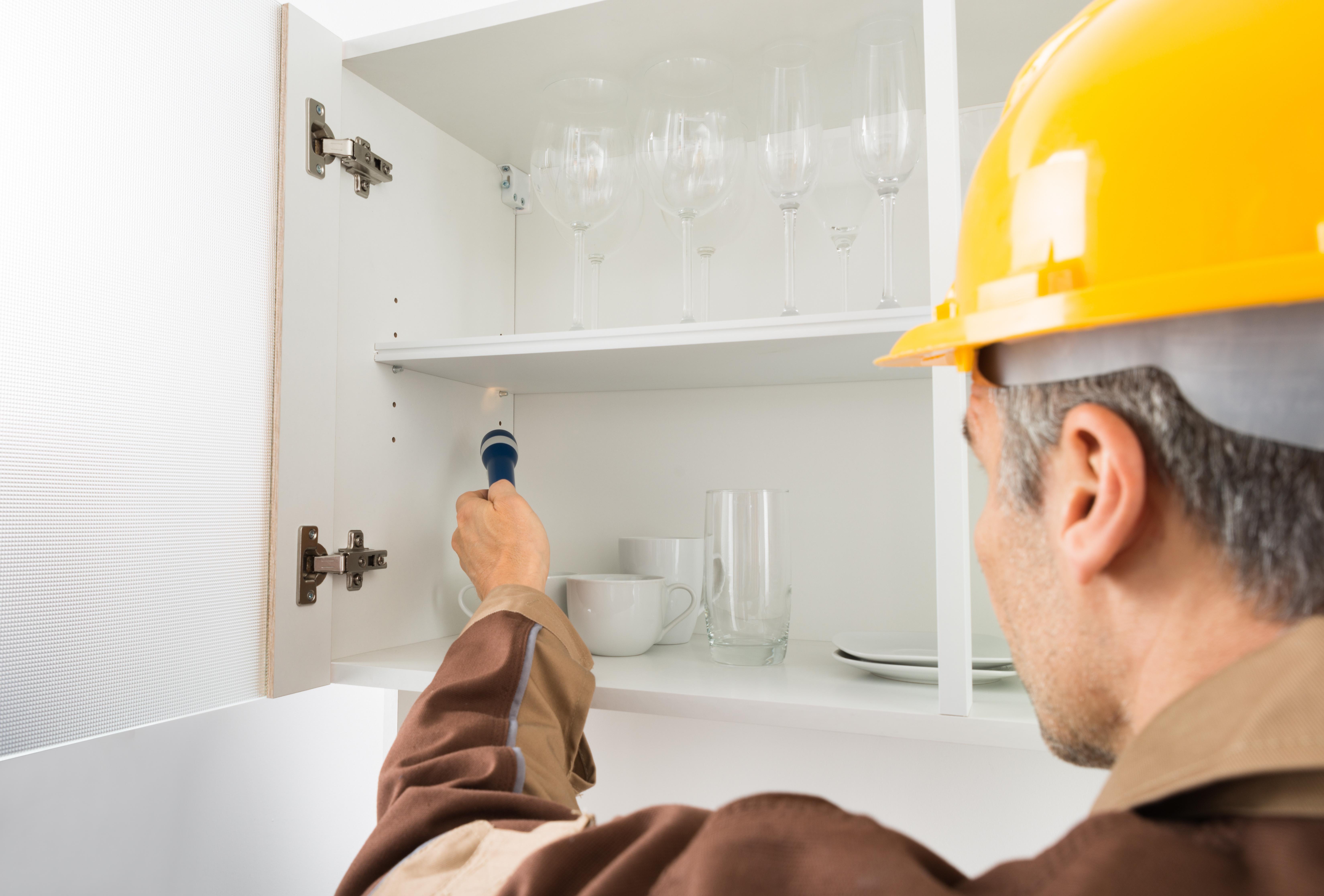Pest Control Worker With Flashlight Checking Kitchen Shelf